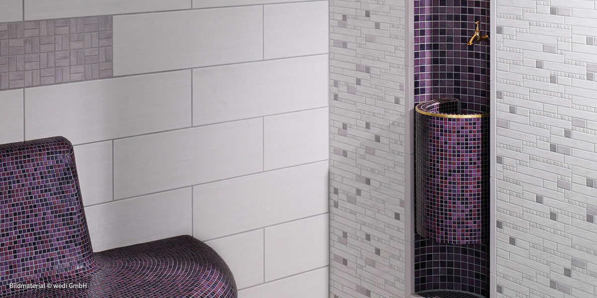 Dusche Halbrund Gemauert : Dusche Mosaik Rund : kleines bad einrichten ideen graue fliesen blaue